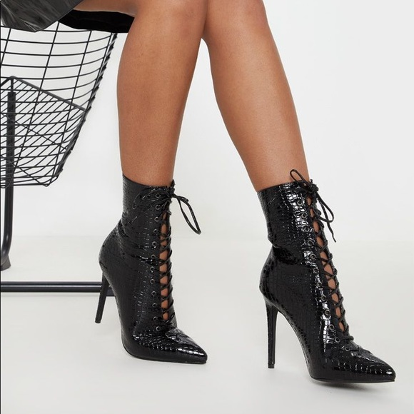 Plt Black Croc Lace Up High Point Ankle
